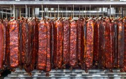 Refrigerated warehouse for storing meat and sausage products.  Stock Photography