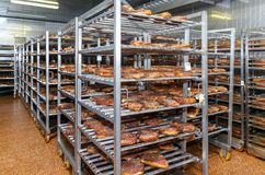 Refrigerated warehouse for storing meat and sausage products.  Royalty Free Stock Photography