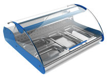 Refrigeration showcase 3d. Refrigerated display case with curved glass for shops and supermarkets, isolated on a white background Stock Photography