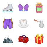 Refrigeration supply icons set, cartoon style. Refrigeration supply icons set. Cartoon set of 9 refrigeration supply vector icons for web isolated on white Stock Images