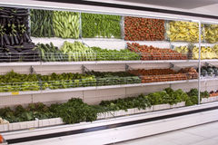 Refrigerator. Section of fruit and vegetables in supermarkets Royalty Free Stock Images