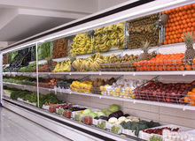 Refrigerator. Section of fruit and vegetables in supermarkets Stock Photos