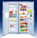 Refrigerator. Large open refrigerator full of all kinds of food - vector illustration vector illustration