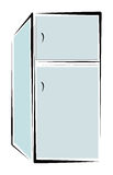 Refrigerator. Simple illustration of refrigerator on white background royalty free illustration