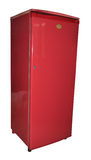 Refrigerator. Red color refrigerator in white background Stock Photos