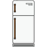Refrigerator. Cartoon illustration showing an old-style refrigerator model royalty free illustration