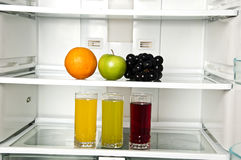 Refrigerator. Close up with juice Royalty Free Stock Photography