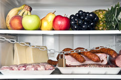 Refrigerator. Close up with meat shelf locked Royalty Free Stock Photo