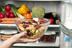 Refrigerator. Close up with fruit salad Royalty Free Stock Images