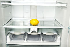 Refrigerator. Close up with lemon Royalty Free Stock Image