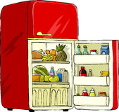 Refrigerator. On a white background, vector royalty free illustration