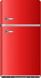 Refrigerator. Red refrigerator on the background royalty free illustration