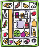 Refrigerator. Some food is in refrigerator. Illustration is in the frame. Some objects are around like a frame stock illustration