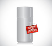 Refrigerator with a do not disturb hanging sign. Illustration design over white Stock Photography