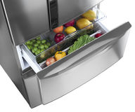 Refrigerator drawer with vegetables Royalty Free Stock Images