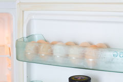 Refrigerator eggs. Stored in the refrigerator fresh eggs Royalty Free Stock Photo