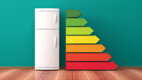 Refrigerator and energy efficiency rating. 3d illustration stock illustration