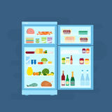 Refrigerator With Food Icons Flat Style Stock Photo