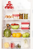 Refrigerator with food Stock Photo