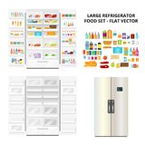 Refrigerator and Food Set Royalty Free Stock Photography