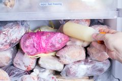 Refrigerator with frozen food meat, milk, vegetables. Ready meal Stock Photos