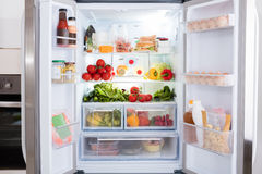 Refrigerator With Fruits And Vegetables Stock Photo
