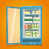 Refrigerator Full of Dairy Products Illustration Stock Image