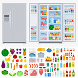 Refrigerator full of different products. Refrigerator collection vector flat illustration. Cooking and kitchen concept. Refrigerators in the room, variety of stock illustration