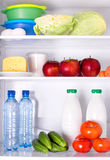 Refrigerator full of healthy food Stockfoto