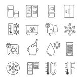 Refrigerator, home freezer and industrial fridge linear icons. Food frozen and cold machine thin line signs Royalty Free Stock Images