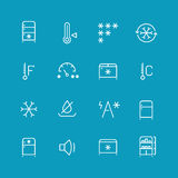 Refrigerator, home fridge, freezing vector icons set Royalty Free Stock Image