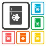 Refrigerator icons set Stock Images