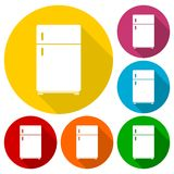 Refrigerator icons set with long shadow Stock Photography