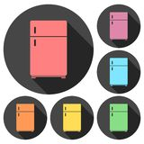 Refrigerator icons set with long shadow Royalty Free Stock Images