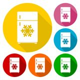 Refrigerator icons set with long shadow Royalty Free Stock Image