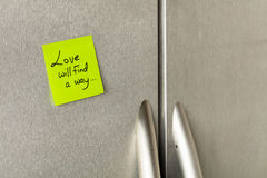 Refrigerator love note Royalty Free Stock Image