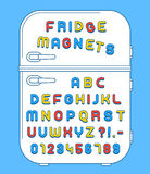 Refrigerator magnets alphabet on doors. Colorful numbers and alphabet refrigerator magnets on doors over blue background, vector illustration Royalty Free Stock Image