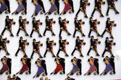 Refrigerator magnets with the image of tango dancers Stock Image