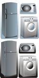 Refrigerator, microwave, washing machine Stock Photo