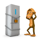 Refrigerator and a monkey Royalty Free Stock Photos