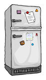 Refrigerator. With notes and magnets on it vector illustration