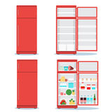 Refrigerator opened with food set. Fridge Open and Closed with foods. Refrigerator red royalty free illustration