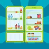 Refrigerator organic food kitchenware household utensil fridge appliance freezer vector illustration. vector illustration