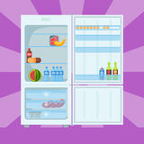 Refrigerator organic food kitchenware household utensil fridge appliance freezer vector illustration. Royalty Free Stock Photo