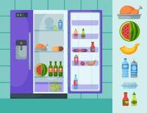 Refrigerator organic food kitchenware household utensil fridge appliance freezer vector illustration. stock illustration