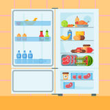 Refrigerator organic food kitchenware household utensil fridge appliance freezer vector illustration. royalty free illustration