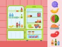 Refrigerator organic food kitchenware household utensil fridge appliance freezer vector illustration. Royalty Free Stock Photography