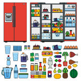 Refrigerator with products flat line vector Stock Photos