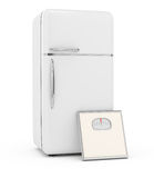 Refrigerator and scales Royalty Free Stock Images
