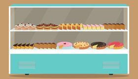 Refrigerator with shelves and cakes on it. Various pastries and cakes in showcase refrigerator. Vector illustration. stock illustration